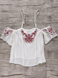 Embroidery Cami Off The Shoulder Blouse - White S