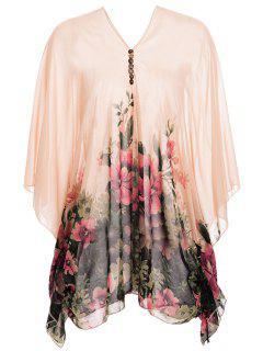 Chiffon Floral Print Poncho Maternity Blouse - Orangepink Xl