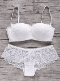 Spaghetti Strap Laced Push Up Bra Set - White 80c