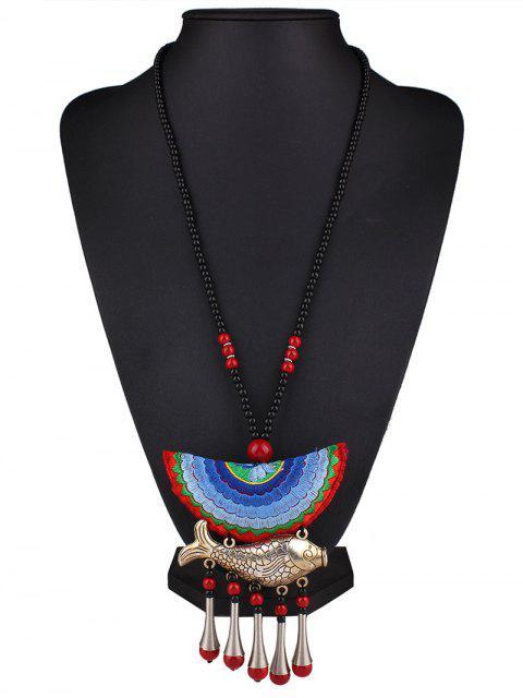 best Fish Tassel Half Moon Pendant Necklace -   Mobile