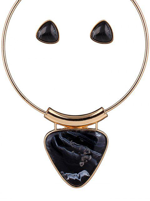 shop Acrylic Triangle Necklace and Earrings - BLACK  Mobile