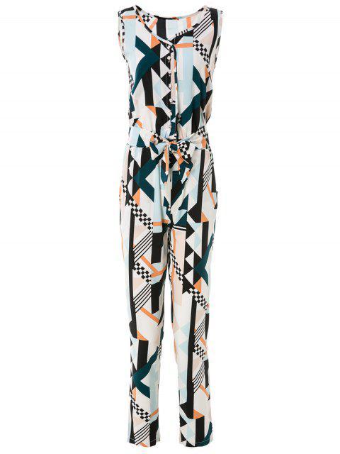 Geometric Imprimer Jumpsuit Elégant - Multicolore M Mobile