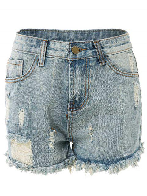outfits High Waisted Ripped Denim Shorts - LIGHT BLUE S Mobile
