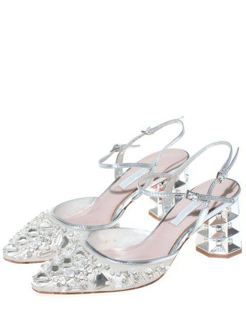 shop Rhinestone Satin Chunky Heel Sandals - OFF-WHITE 39 Mobile