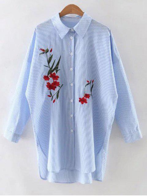 Camisa floral bordado de manga larga a rayas - Azul Claro M Mobile