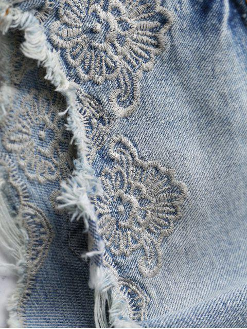 fancy Embroidery High Wasit Denim Shorts - LIGHT BLUE S Mobile