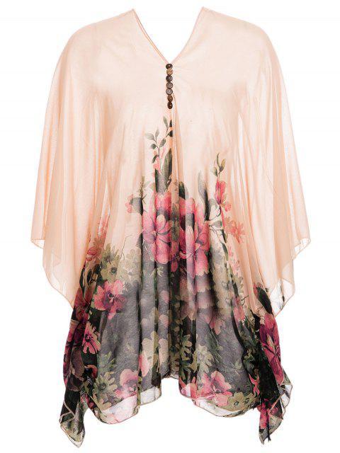 ladies Chiffon Floral Print Poncho Maternity Blouse - ORANGEPINK L Mobile