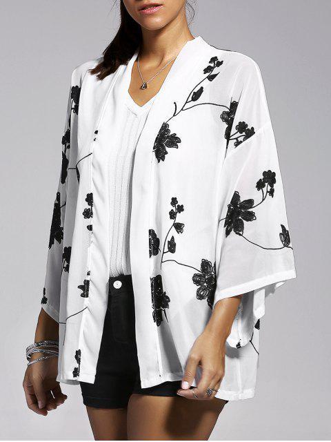 Floral bordado de la manga del Batwing de la blusa - Blanco M Mobile