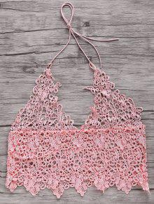 Short Solid Color Cami Lace Tank Top - Pink S