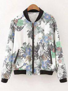 Flowers Print Stand Neck Long Sleeve Jacket - COLORMIX L
