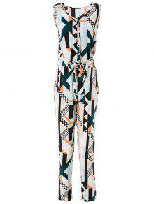Geometric Print Elegant Jumpsuit - M