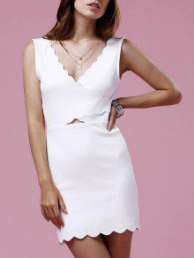 Douce V-cou Sans Manches Ourlet Festonné Robe Moulante Pour Les Femmes - Blanc 2xl