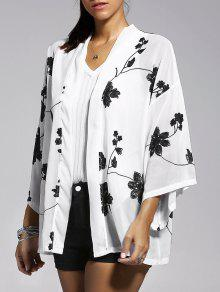 Floral Embroidery Batwing Sleeve Blouse - White L