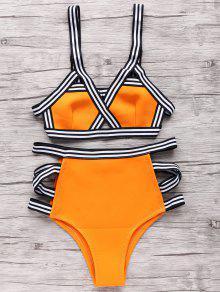 Neoprene Bandage Bikini Set - Orange M
