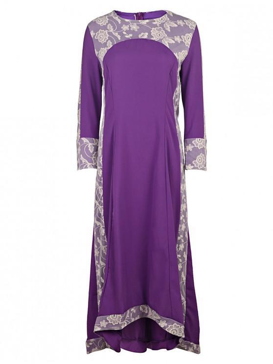 women Long Sleeve Lace Panel Prom Dress - PURPLE L