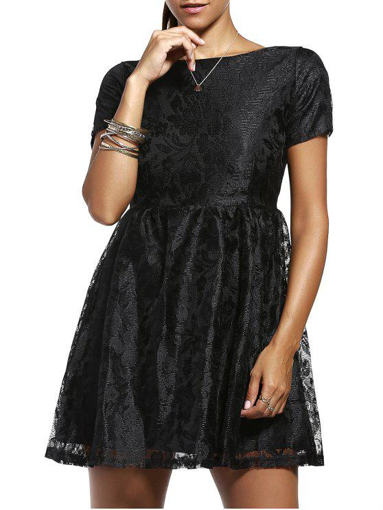 shop Solid Color Short Sleeve Back V Lace Dress - BLACK L
