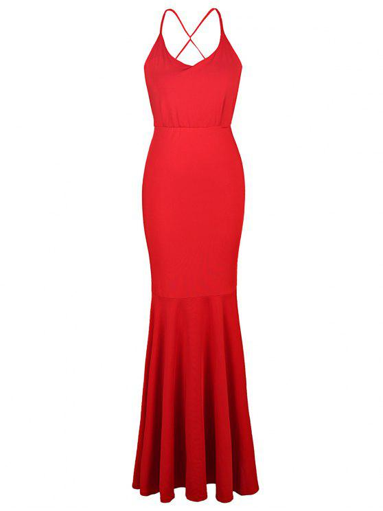 outfits Red Cami Backless Maxi Dress - RED S