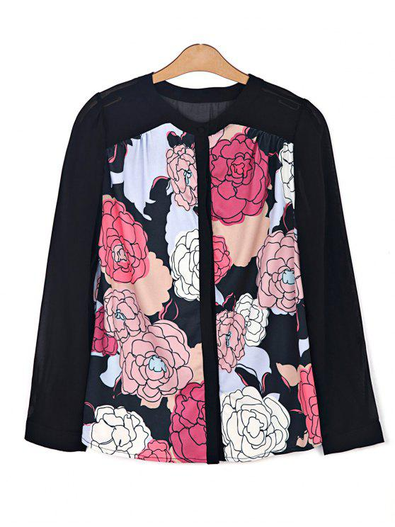 hot Floral Print Chiffon Spliced Shirt - BLACK XS