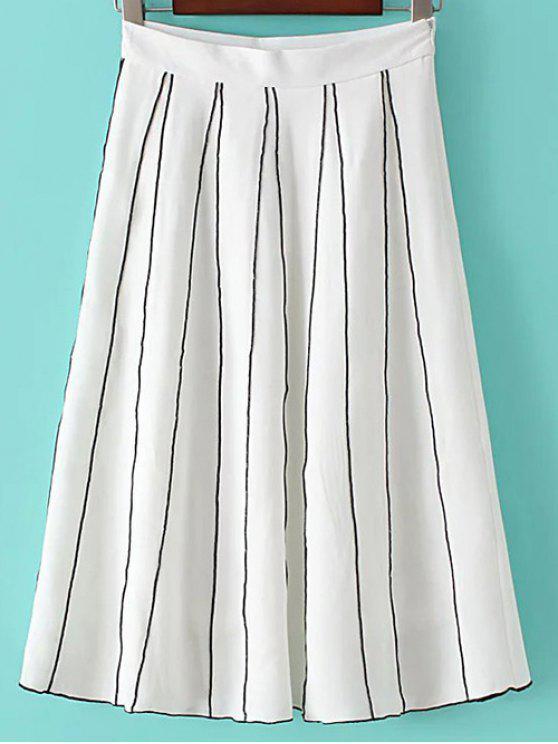 Una falda de rayas Línea - Blanco M