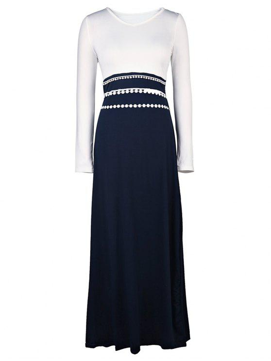 women's White and Black Long Sleeve Maxi Dress - WHITE S