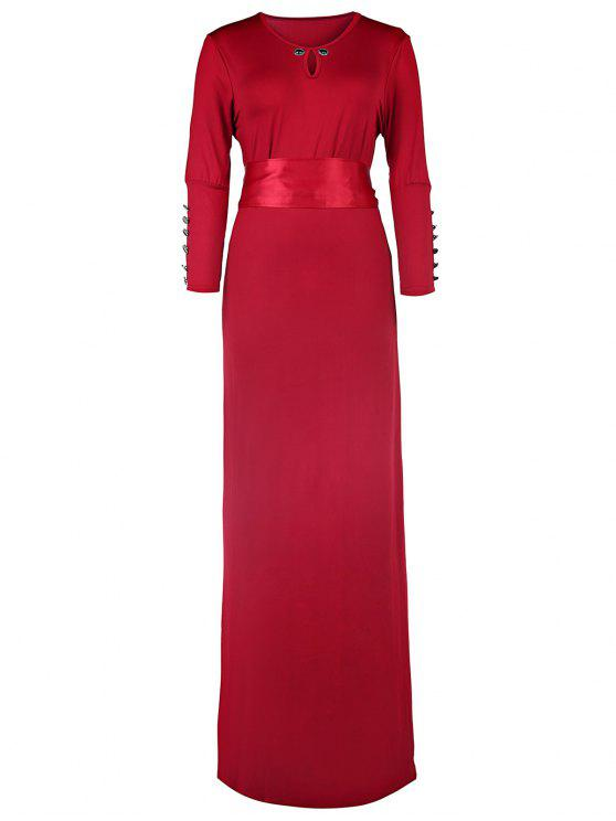 Solid Color Cut Out 3/4 Sleeves Sashes Maxi Dress - Vermelho Tinto L