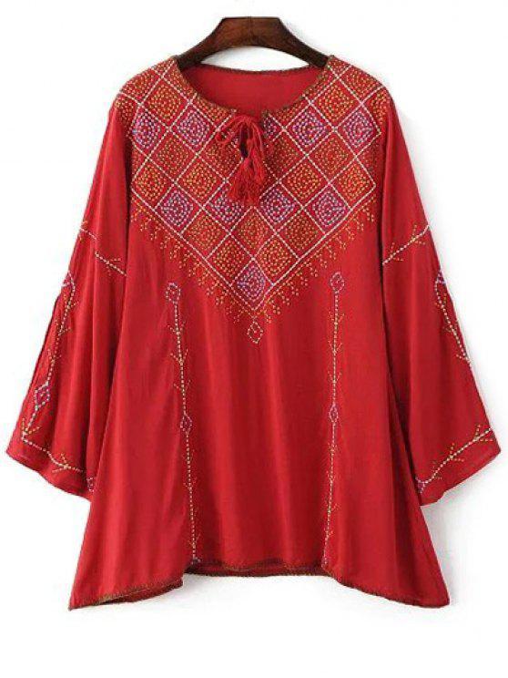 Manga larga del bordado del cuello redondo de la camiseta - Rojo M