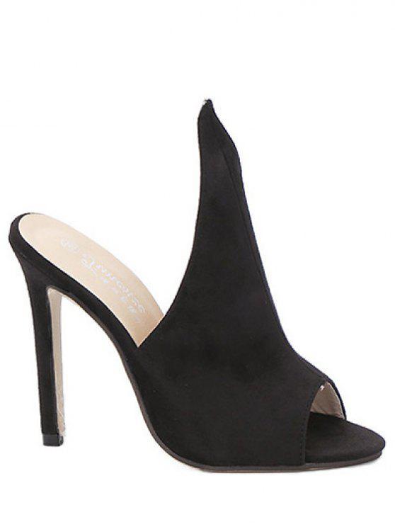 Peep Toe Slippers aus Velourleder mit Stiletto Absatz - Schwarz 36
