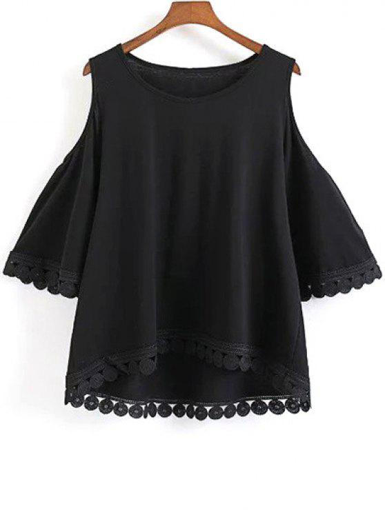 Cuello redondo de color sólido con hombros de la camiseta - Negro L
