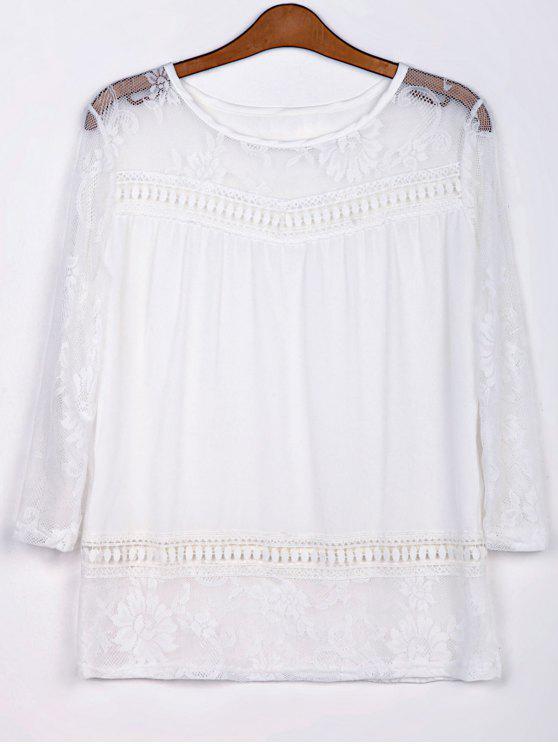 women's Openwork Lace Hook Chiffon Blouse - WHITE M