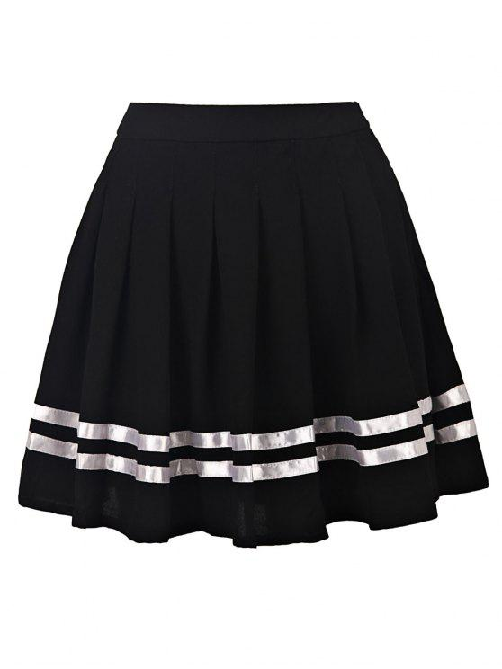 womens Pleated High Waisted Skirt - BLACK S