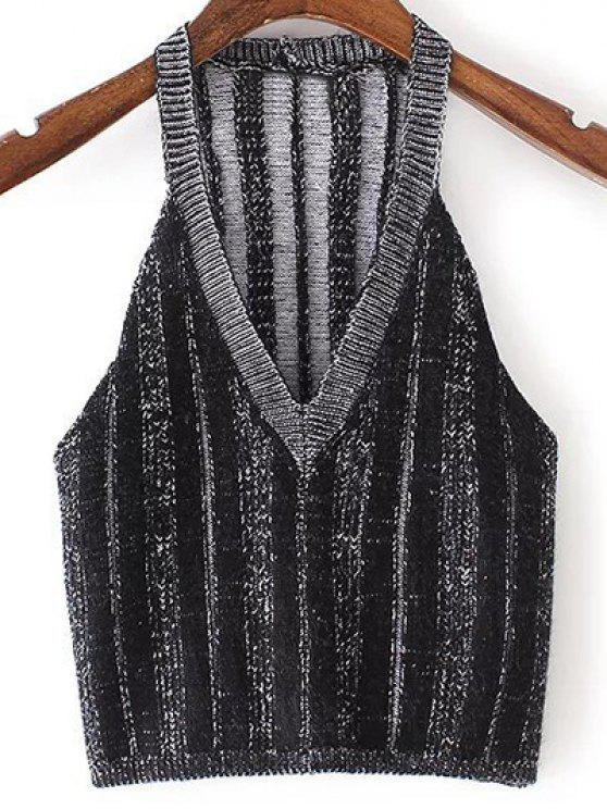 sale Pure Color Plunging Neck Knit Tank Top - BLACK M