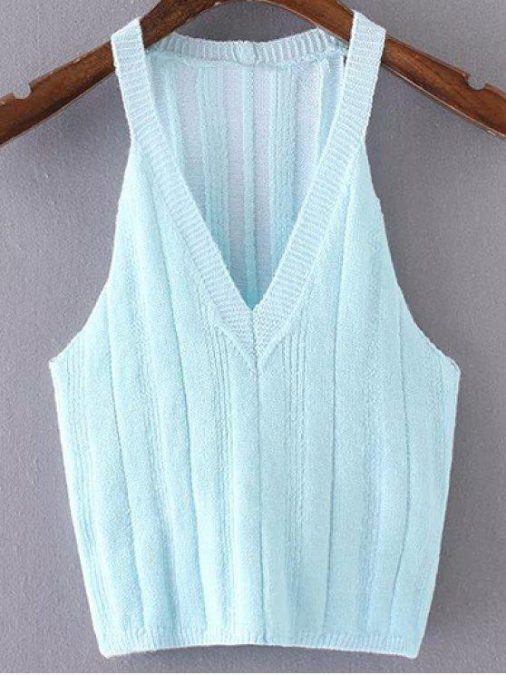 womens Pure Color Plunging Neck Knit Tank Top - AZURE S