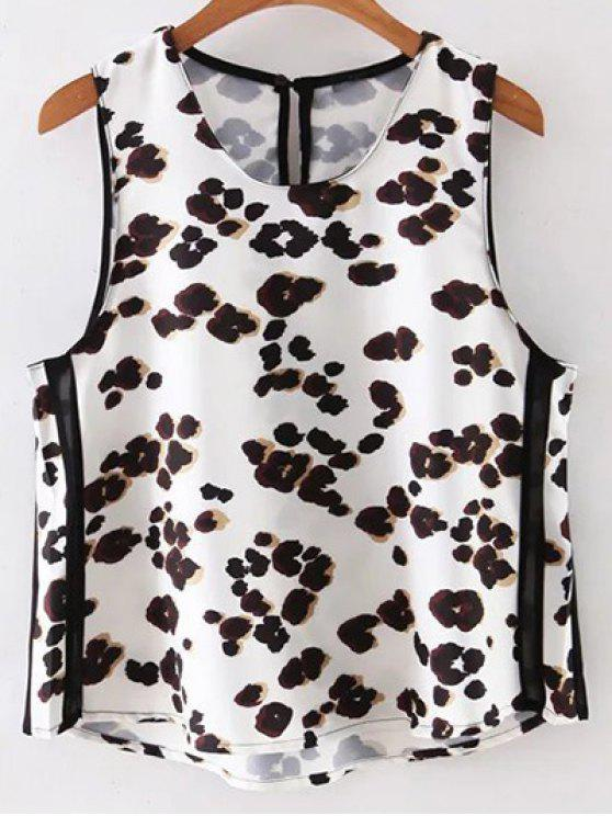 latest Leopard Print Round Neck Tank Top - WHITE S