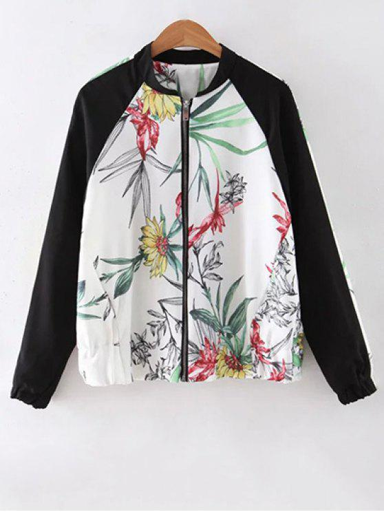 unique Floral Print Stand Collar Baseball Jacket - WHITE M