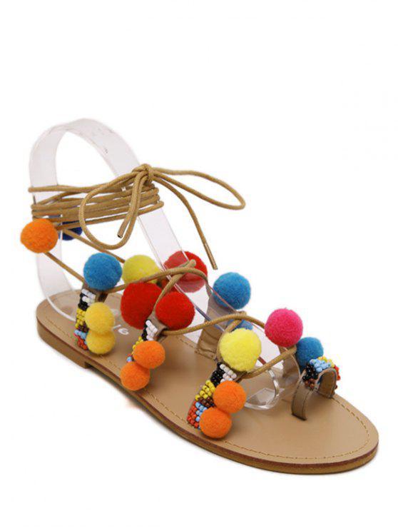 shop Pompon Lace-Up Flat Heel Sandals - APRICOT 40