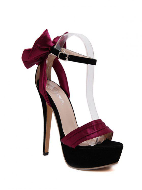 outfits Satin Bow Stiletto Heel Sandals - WINE RED 36