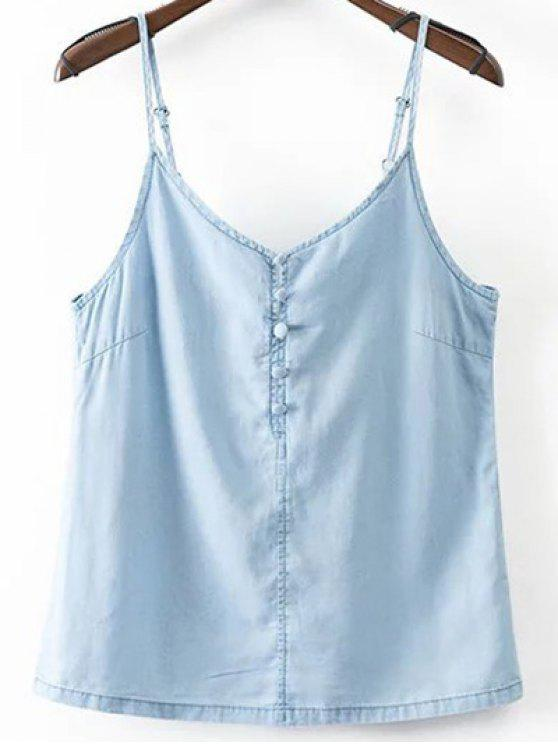 chic Solid Color Spaghetti Straps Chambray Tank Top - LIGHT BLUE S