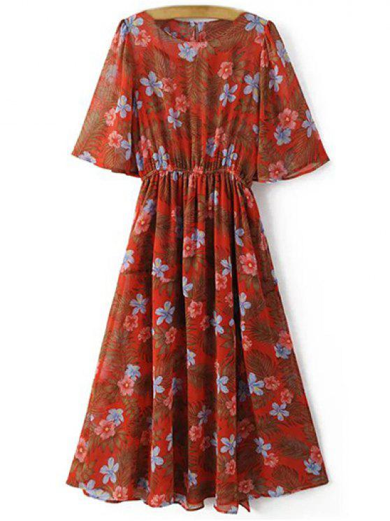 Impresión floral de cuello redondo Vestido de corte delantero - Rojo M