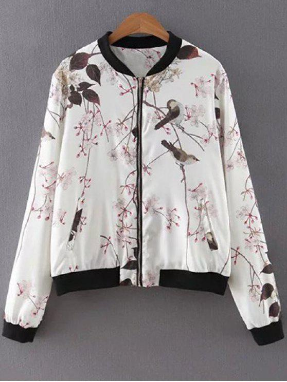 latest Bird Print Stand Neck Long Sleeves Jacket - WHITE L