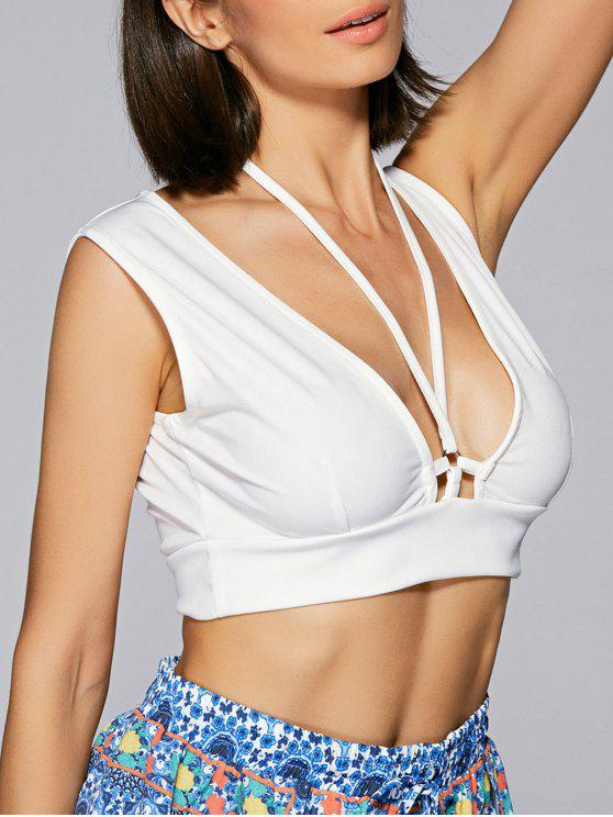 trendy Solid Color Halter Cropped Tank Top - WHITE L