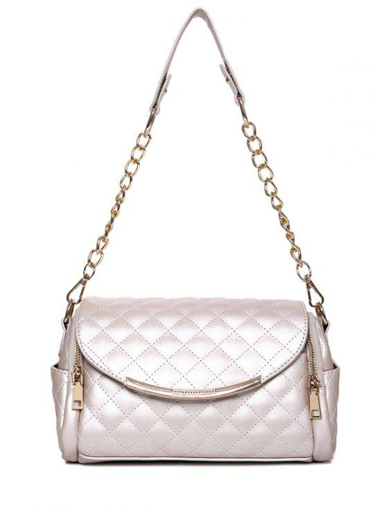 womens Checked Zips Chains Shoulder Bag - OFF-WHITE