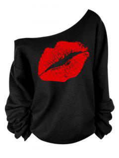 Lip Print One Shoulder Long Sleeve T-Shirt - Red 2xl