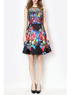 Sleeveless A Line Floral Race Day Dress - Black S