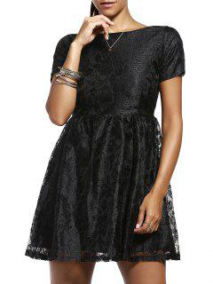 Solid Color Short Sleeve Back V Lace Dress - Black M
