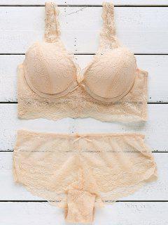 Bowknot Embellished Lace Bra Set - Pinkbeige 75a