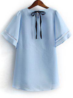 Ahueca Hacia Fuera El Cuello Redondo De La Mariposa De La Manga De La Camiseta - Azul Claro L