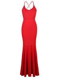 Red Cami Backless Maxi Dress - Red L