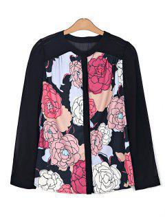 Floral Print Chiffon Spliced Shirt - Black Xs
