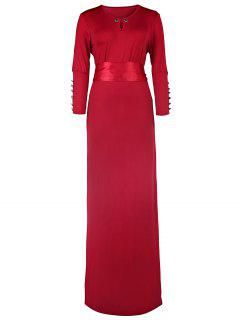 Solid Color Cut Out 3/4 Sleeves Sashes Maxi Dress - Claret M