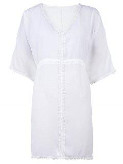 1/2 Sleeve White Chiffon Cover-Up - White